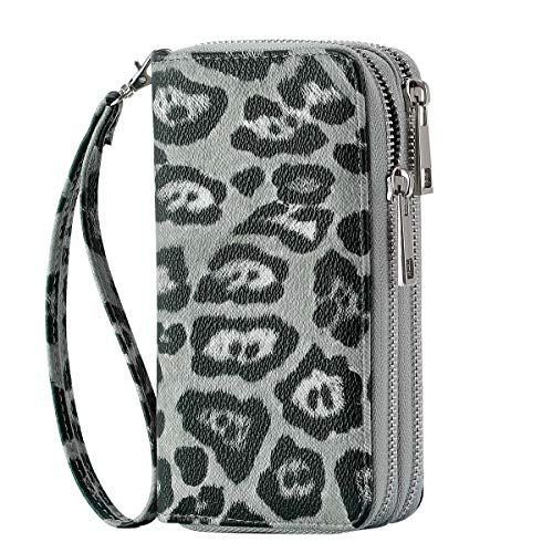 HAWEE Cellphone Wallet Dual Zipper Wristlet Purse with Credit Card Case/Coin Pouch/Smart Phone Pocket Soft Leather for Women or Lady, Celadon Leopard Print