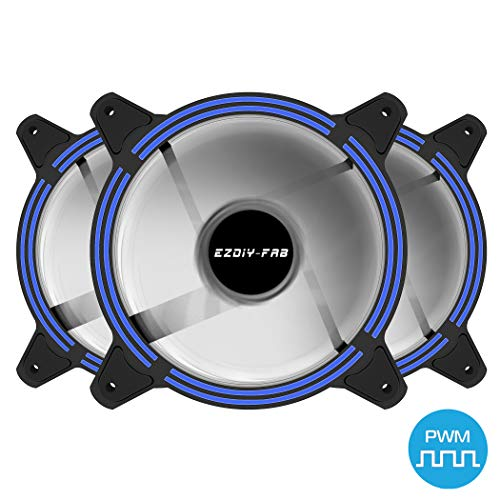 EZDIY-FAB 120mm PWM Blue LED Fan, Dual-Frame LED Case Fan for PC Cases, High Airflow Quiet,CPU Coolers, and Radiators,4-Pin-3-Pack (Best Blue Led Case Fans)