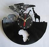 Handmade Vinyl Wall Clock Africa Elephants Giraffes Vinyl Clock Record Wall Clock Art Decor Unique Decorative Vinyl Clock