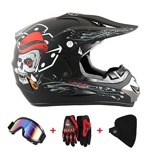 Motorradhelm Cross Helme Schutzhelm Motocross Helm für Motorrad Crossbike Off Road Enduro Sport mit Handschuhe…