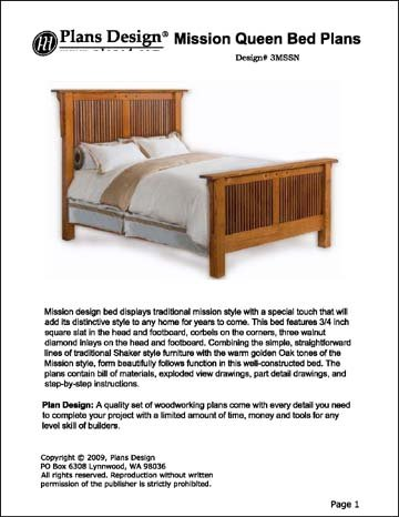 Mission Style Queen Bed Woodworking PlanDesign -Design #3MSSN (Mission Woodworking Plans)