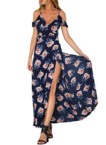 Maxi Dress Achicgirl Moda Neck V Floral Print red Navy Donna nx0BqBYRw