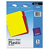 Avery 23080 Write-On Heavy-Duty Plastic Tab Dividers w/White Labels, 5-Tab, Letter