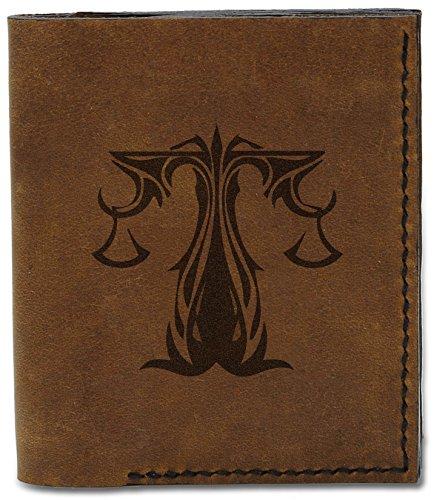 MHLT b Natural Style Tattoo Leather Libra Genuine Men's Wallet 04 Handmade Tattoo Zodiac wB8UqRT