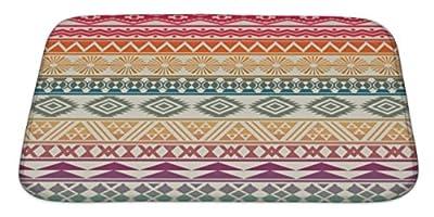 Gear New Bath Rug Mat No Slip Microfiber Memory Foam, Beige Tribal Striped Pattern