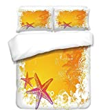 iPrint Duvet Cover Set,Starfish Decor,Tropical Summer Beach Exotic Flowers Seastars Hawaii Islands Fauna Decorative,Orange Yellow Pink,Best Bedding Gifts for Family Or Friends