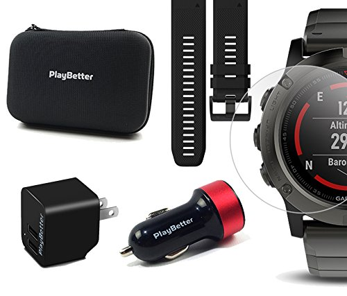 Garmin fenix 5X Sapphire (Slate Gray with Metal Band) GIFT BOX   Bundle: Extra Band (Black), Screen Protector, PlayBetter USB Car/Wall Adapter, Protective Case   Multi-Sport GPS Watch, Wrist-HR, Maps by PlayBetter (Image #6)