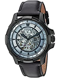 Fossil Men's Stainless Steel and Leather Automatic Watch, Color:Black (Model: ME3130)
