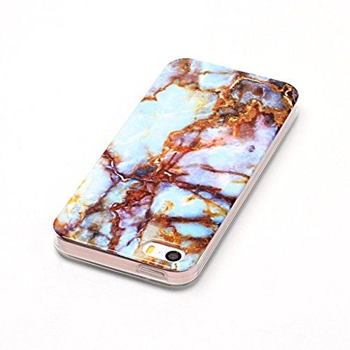 iPhone 5S / 5 / SE Cover TPU , ZXLZKQ Transparent Housse Case Naturel Marbre Motif Etui Bumper Coque TPU Slim pour Apple iPhone 5S / 5 / SE Mode Flexible Souple Soft Case Couverture Protection Silicon