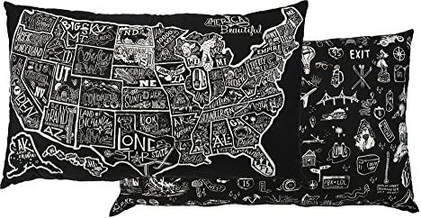 Primitives by Kathy Decorative USA Map Cotton Floor Pillow, 35 x 21-Inch