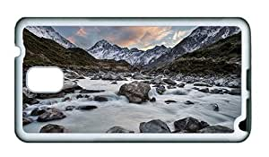 Sale DIY Samsung N9000 cover Hooker River Mount Cook National Park New Zealand mountains rocks TPU White for Samsung Note 3/Samsung N9000