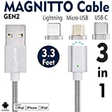 USB Type C Cable,Magnetic Charger Cable MAGNITTO USB to Lightning+USB C+Micro 3 in 1 Multiple 2.4A Quick USB Charging Cable iPhone 7 7 Plus/ 6 6s Plus/iPad Samsung Galaxy S6 S7 S8 Plus Lg V20 Gen2