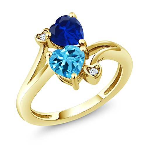 Gem Stone King 1.78 Ct Swiss Blue Topaz Blue Simulated Sapphire 10K Yellow Gold Ring (Size 7) 10k Yellow Gold Sapphire Ring