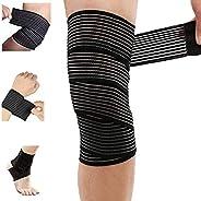Extra Long Elastic Knee Wrap Compression Bandage Brace Support for Legs, Plantar Fasciitis, Stabilising Ligame