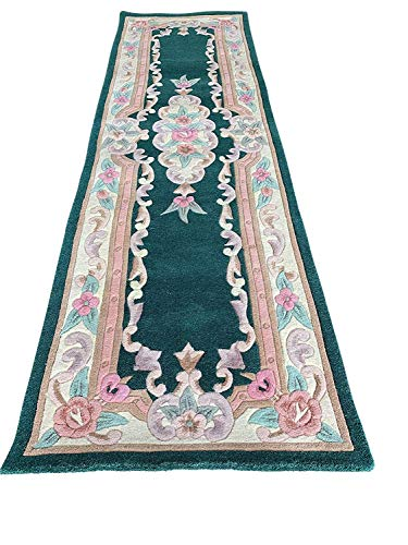 - Carpet King Traditional Persian Handmade Floral Aubusson Runner Area Rug Green Pink Beige Peach Ivory Mauve (2 Feet 3 Inch X 7 Feet 9 Inch)