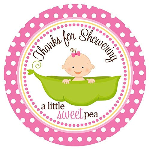 Sweet Pea in a Pod Baby Shower Stickers Labels - Thank You for Showering Favor Labels - Set of 30 -