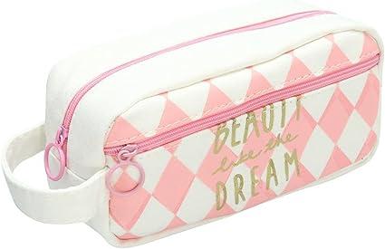 Bonito estuche para lápices Venmo, con cremallera, para chicas, de tamaño grande; también sirve para cosméticos,