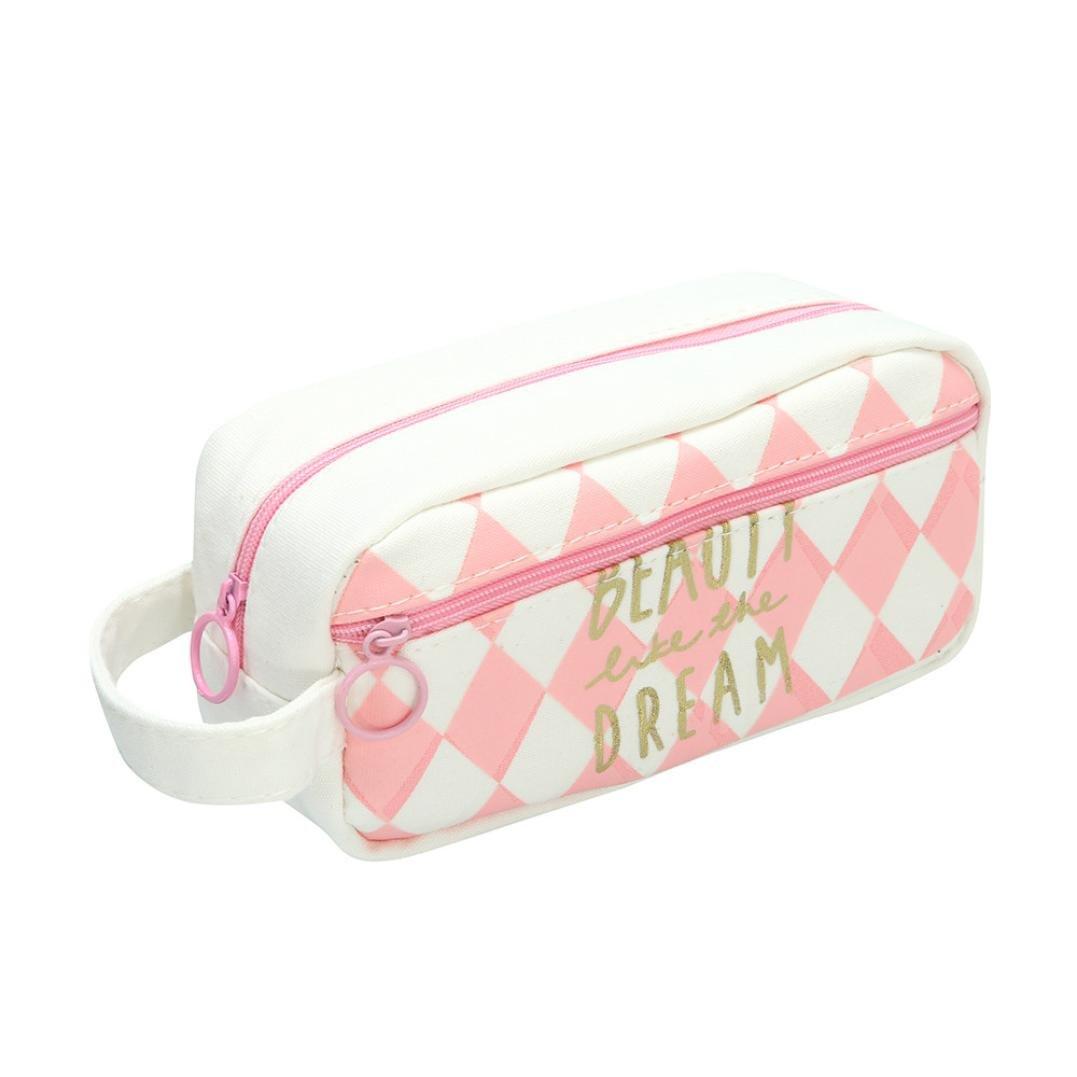 Cute Pencil Case,VENMO Canvas Pencil Box Bag Pouch With Zipper Girls Large Comestic Makeup Bag Organizer With Compartments,19.5*10*7 cm (D)