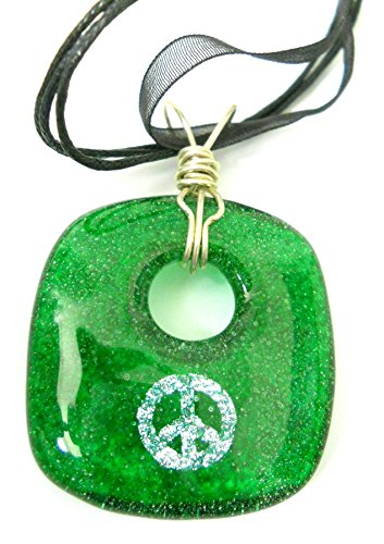 New Green Glass Silver Dichroic Glass Peace Symbol Square Necklace with Silver Wire Bail and Black Silk Cord