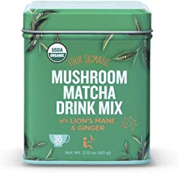 Four Sigmatic Mushroom Matcha - USDA Organic - Ceremonial Grade Matcha Grean Tea Powder with Lions Mane Mushroom Powder and Ginger - Balanced Energy and Focus - Vegan, Paleo, 60 gram - 20 servings