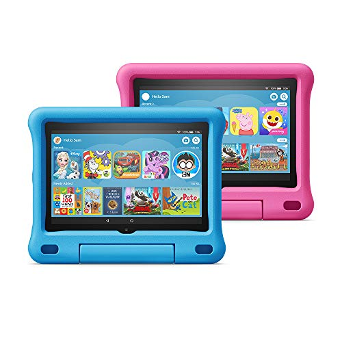 Fire HD 8 Kids Edition tablet 2-pack, 8″ HD display, 32 GB, Blue/Pink Kid-Proof Case