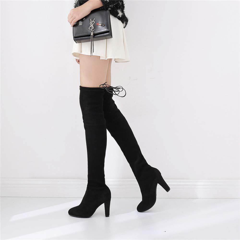 Damen Oberschenkel Hoch Overknee Niedrig Mittlerer Absatz Absatz Absatz Blockabsatz Damen Schnüren Stiefel Schuhe Größe,schwarz-EU 34=5B(M) US 2475b1