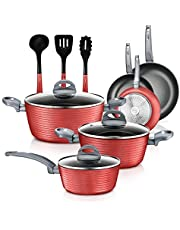 NutriChef Nonstick Kitchen Cookware Set - Professional Hard Anodized Home Kitchen Ware Pots and Pan Set