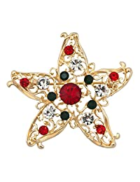 Charmed Craft Christmas Xmas Star Brooches and Pins Pentagram Crystal Brooch Pin Jewelry