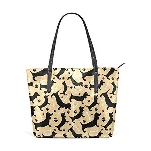 COOSUN Duchshung Perros PU del patrón de cuero bolso monedero y bolsos de la bolsa de asas para las mujeres Medio muticolour