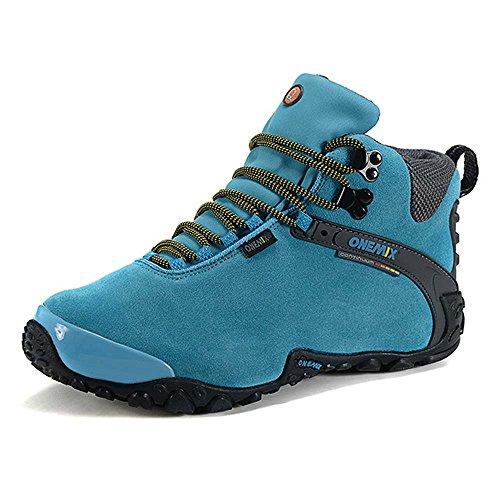 Onemix Mujeres tobillo-alto cálido calzado deportivo cómodo Impermeable botas de nieve de invierno Trekking Trail Senderismo botas Luna Negra