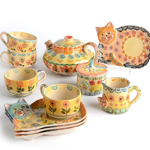 Cat Tea Party Bundle - Italian Dinnerware - Handmade in Italy from our Festa Collection