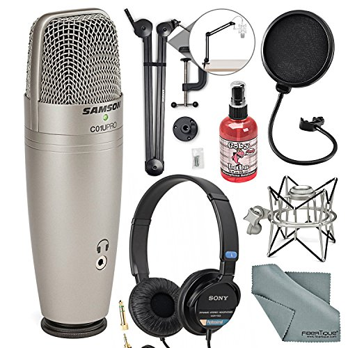 Samson CO1U Pro USB Studio Condenser Microphone Broadcasting Accessory Bundle Mic Pop Filter + Sanitizer + Boom Arm + Headphones + Fibertique Cloth + (Samson Condenser Musical Instruments Microphones)