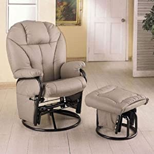 Bone Leatherette Glider Rocker Recliner Chair with Ottoman & Amazon.com: Bone Leatherette Glider Rocker Recliner Chair with ... islam-shia.org