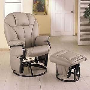 Bone Leatherette Glider Rocker Recliner Chair with Ottoman