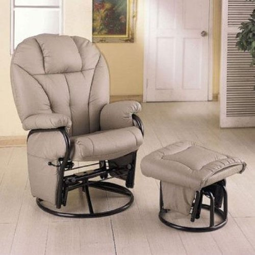 Amazon.com: Bone Leatherette Glider Rocker Recliner Chair with Ottoman:  Kitchen & Dining - Amazon.com: Bone Leatherette Glider Rocker Recliner Chair With