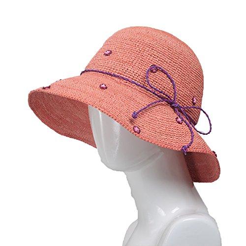 Flower-Bud Raffia Straw Hat Ladies Summer Tide Beach Cap Travel UV Sun Visor Sunscreen Pastoral Style Sun Hat,Rusty red