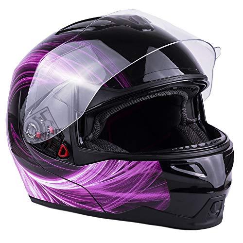 Women's Modular Full Face Motorcycle Helmet Street Bike Flip-Up Dual Visor DOT (Pink Medium)