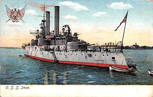 Military Battleship Postcard, Old Vintage Antique Military Ship Post Card USS Iowa Unused