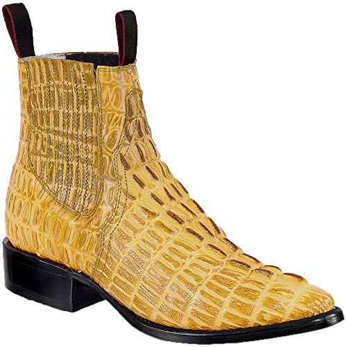 Western Shops Mens Leather Cowboy Boots Crocodile Alligator Print Short Ankle Western J Toe Boot