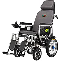 Electric Wheelchair Folding Collapsible Light Old Man Scooter Full Lay Elderly Disabled Four-Wheel Automatic Intelligent - Gray