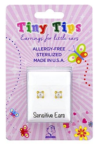 Tiny Tips Stud Earrings Pearl Tiffany Setting Hypoallergenic for Little Sensitive Ears 3mm
