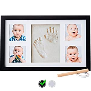 Little Hippo Baby Footprint & Handprint Kit - Baby Picture Frame (BLACK) & Non Toxic CLAY! Unique Baby Gifts Personalized for Baby Shower Gifts! Baby Boy Gifts, Baby Girls Gifts, for Baby Registry!