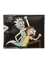 Official Men's Adult Swim Rick and Morty Character PU Bi-Fold Black Wallet