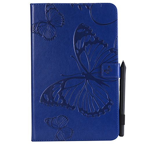 Shinyzone Tablet Leather Case for Samsung Galaxy Tab E 9.6 T560,Embossed Navy Blue Butterfly Pattern with Credit Card Slots and Pencil Holder,Auto Sleep and Wake Function Magnetic Flip Stand Cover