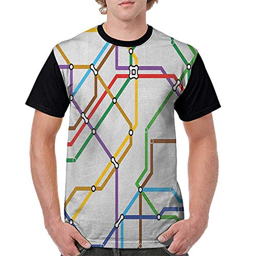 Mens Raglan Baseball T-Shirt,Map,Stripes in Vibrant Colors Metro Scheme Subway Stations Abstract Railroad Transportation, Multicolor S-XXL Printed Crew Neck Casual Tee Tops