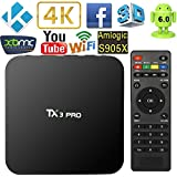 VIPWIND Android TV Box, Smart TV Box 4K TV Box Amlogic S905X Quad Core Set-top Box HDMI H.265 WIFI Miracast
