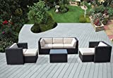 Ohana 8-Piece Outdoor Patio Furniture Sectional Conversation Set, Black Wicker with Beige Cushions – No Assembly with Free Patio Cover Review