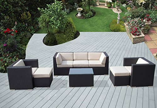 Ohana 8-Piece Outdoor Patio Furniture Sectional Conversation Set, Black Wicker with Beige Cushions - No Assembly with Free Patio Cover
