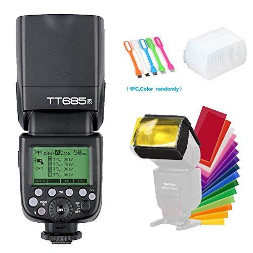 Godox Thinklite TT685S TTL Camera Flash Speedlite High Speed Sync 1/8000s GN60 Light Compatible for Sony DSLR Cameras + CONXTRUE USB LED