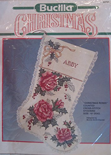 Bucilla CHRISTMAS ROSES Counted Cross-Stitch Stocking Kit - 18 Inches Diagonal #60714